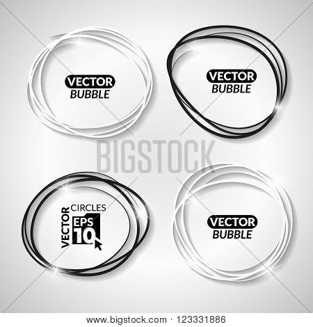 Set of vector linear bubbles. Set of hand drawn black and white circles on the grey background.