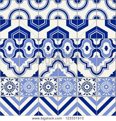 Stylish seamless pattern patchwork mix of six Moroccan tiles in trendy shades of blue.