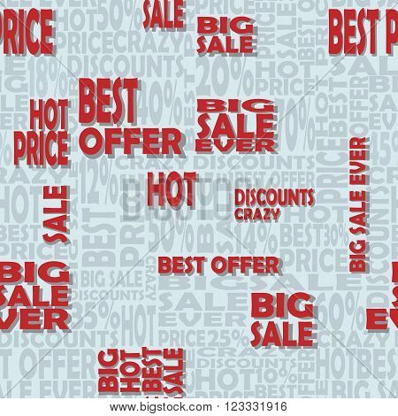 Seamless pattern with sale words. Vector background