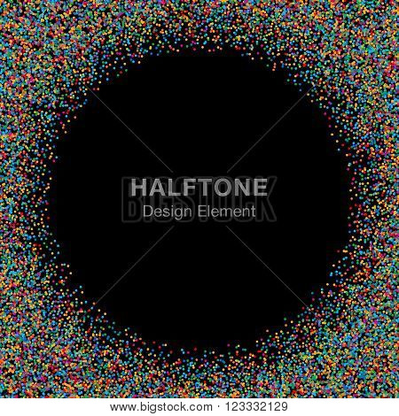 Abstract Rainbow Bright Celebration Holiday Circle Frame on Black Background. Birthday confetti rounds. Vector illustration