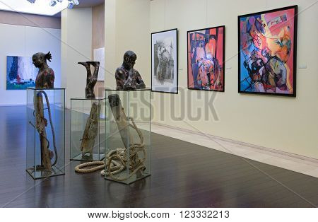 Manama, Bahrain - December 7, 2006:Modern art exhibition in the National Museum.