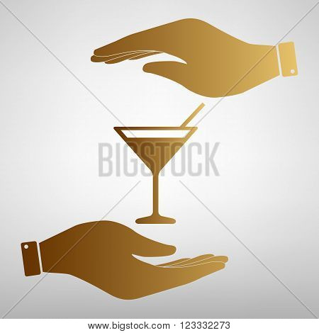 Coctail sign. Save or protect symbol by hands. Golden Effect.