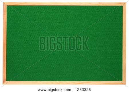 Empty Green Felt Notice Board, Isolated On A White Background.