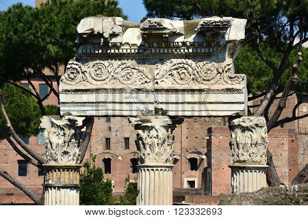 Column frieze and entablature from Templus of Venus Genetrix in Forum of Caesar with motif of spiral leaves