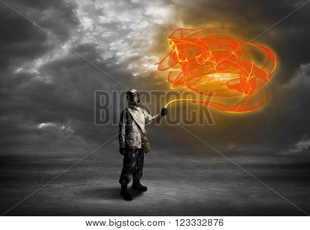 Man in respirator with abstract springs in hand