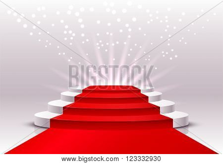 Round pedestal with a red carpet. Vector illustration with round pedestal on a light background with rays of light.
