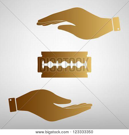 Razor blade sign. Flat style icon vector illustration.