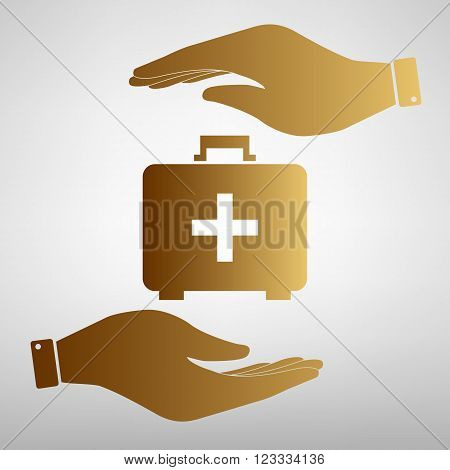 First aid box sign. Save or protect symbol by hands. Golden Effect.
