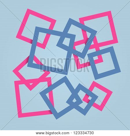 Overlapping square frame red and blue color background.