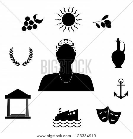 set of different  object on the theme of Greek culture.