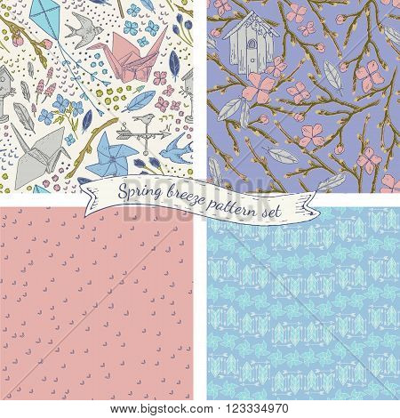 Spring breeze seamless pattern set. Lovely romantic vintage style. Origami crane, bird feathers, pinwheel illustration elements.