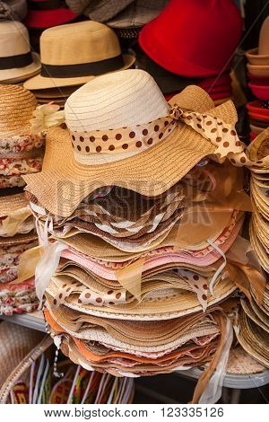 Pile hats stacked on the market, Thailand market.