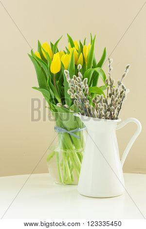 fresh yellow  tulips and willow catkins in pot isolated on white background.