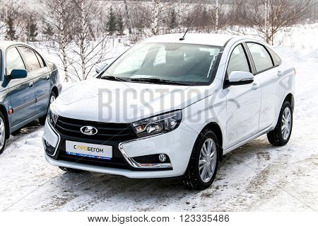 UFA, RUSSIA - FEBRUARY 14, 2016: Brand new motor car Lada Vesta in the Lada trade center.