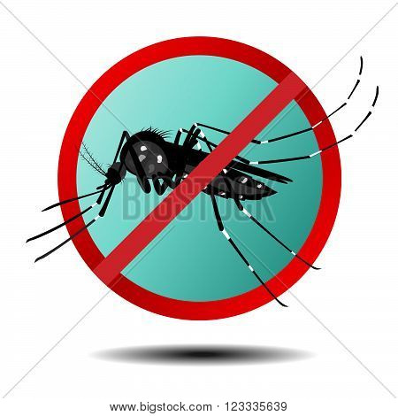 Anti mosquito sign , flat icon , vector
