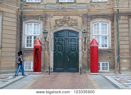 COPENHAGEN, DENMARK - AUGUST 25: unidentified soldier of the Royal Guard in Amalienborg Castle by changing the guards on August 25, 2010 in Copenhagen, Denmark