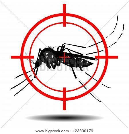 mosquitoes with mosquito target,  flat design , vector