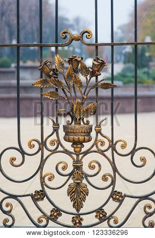 Metal wrought iron gates with floral patterns.