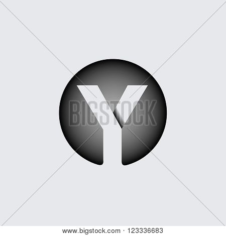 Capital letter Y. Made of wide white stripes Overlapping with shadows. Logo, monogram, emblem trendy design.