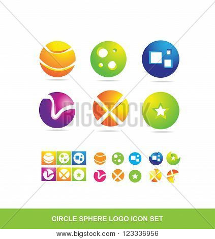 Vector company logo icon element template 3d sphere circle set colors