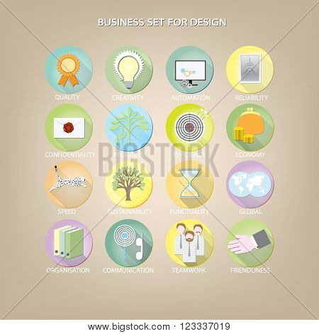 set 16 icons for business site. vector illustration