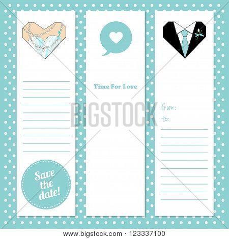 Set of vector tags for wedding or Prom party invitation.Gift tags and notes. Stock vector illustration. Hearts illustrationprintable for wedding invitations and cards.Groom and Bride hearts.