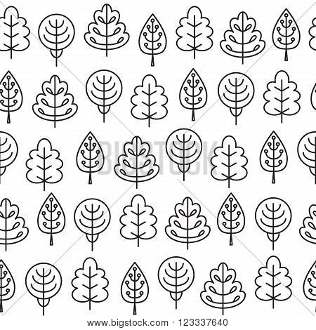 Seamless pattern with outline stroke icons with tress. Vector illustration for your cute design.