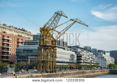 Buenos Aires - January 24, 2016: crane in Puerto Madero, Buenos Aires, Argentina on January 24, 2016