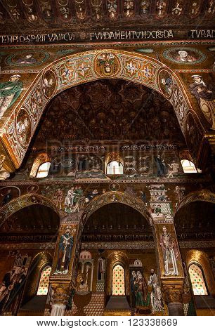 Interior Shot of the famous Cappella Palatina in Sicily in the Palazzo Reale in Palermo in Sicily Italy