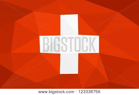 Switzerland low poly triangulation flag in EPS 8 format.