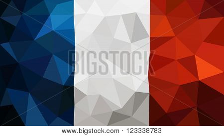France low poly triangulate flag in EPS 8 format