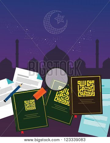 fiqh fiqih Islamic jurisprudence study islam religion literature books  Sharia  divine law vector