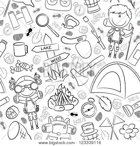 Bright colorful vector pattern with tourist children and with different tools and objects for travels