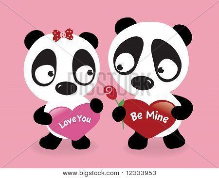 Valentine Pandas holding hearts