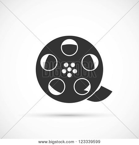 Film reel icon. Vector black cinema and movie design element