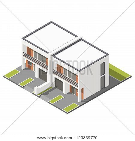 Two story connected cottage with flat roof isometric icon set vector graphic