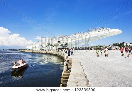 Rio de Janeiro, Brazil - December 19, 2015: View of the Museum of Tomorrow (Museu do Amanha), designed by Spanish architect Santiago Calatrava in Rio de Janeiro, Brazil.