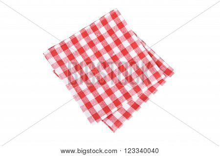 two red table napkins on white background isolated,