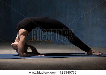 Beautiful Yoga Woman Doing Dvi Pada Viparita Dandasana Pose