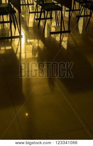 Rows Of Empty Conference Chairs And Shadows Yellow