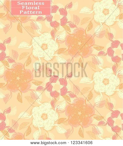Vector floral seamless pattern. Beautiful hand-drawn flowers. Can be used in interior design clothing. Background for postcards invitations. Peach tone