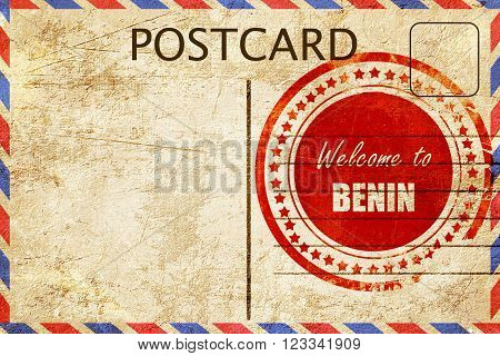 Vintage postcard Welcome to benin card with some soft highlights