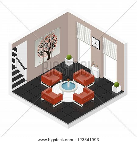 Hall room isometric icon set vector graphic illustration