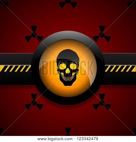 Radiation warning skull icon vector illustration eps 10