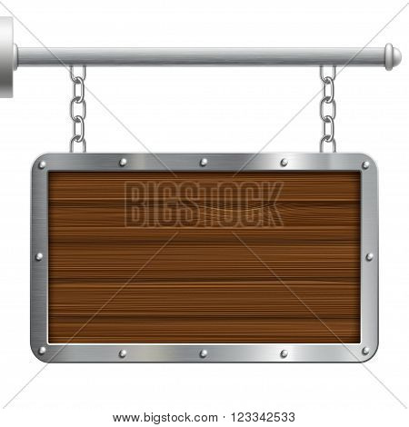 Old vintage wooden signboard hanging on chains. Isolated on white background. Stock vector illustration.