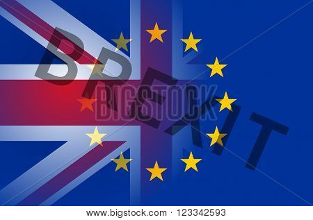Flags of European Union and United Kingdom with inscription Brexit.