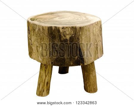 Wooden stool in the form of a stub, isolated on a white background