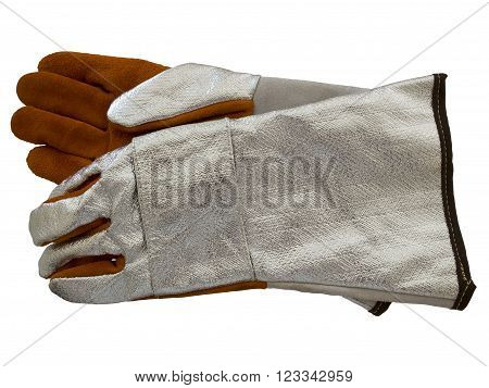 Thermal protection leather gloves isolated on a white background