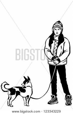 black and white vector sketch of a girl in a jacket with a small dog on a leash.