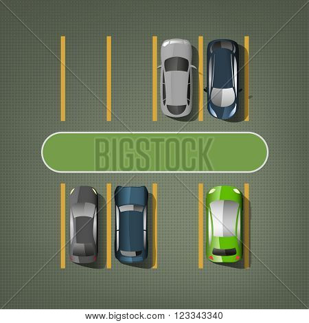 Top view car parking lots. Editable vector illustration in green, gray, blue and yellow colors. Automotive graphic collection.